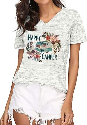 Dresswel Women Happy Camper T Shirt V Neck Short Sleeve Graphic Print Tee Shirts Ladies Summer Tops Grey