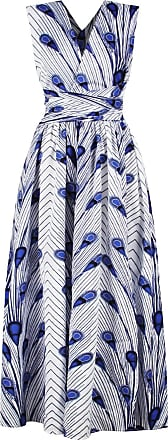 EmilyLe Womens African Boho Vintage Dress Elegant Floor Length High Waist Multiway Bandage Dress Ethnic Costume (M, White Blue)
