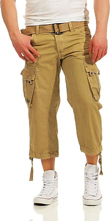 Geographical Norway Mens 3/4 Cargo Trousers Panoramic Bermuda with Belt, Large Side Pockets - Beige - X-Large
