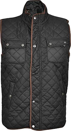 True Face Mens Bodywarmer Gilet Quilted Jacket Padded Lined Vest Sleeveless Top Buttoned Zip Up Regular Fit Waistcoat Black Small