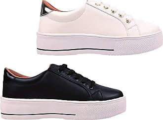 Eleganteria Kit 2 Pares Tênis Feminino Sapatenis Flatform Casual Eleganteria Tamanho:37;Cor:Branco e Preto