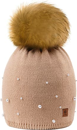 22f17d6e 4sold Ball Colour Beige Womens Girls Winter Hat Wool Knitted Beanie with  Large Pom Pom Cap