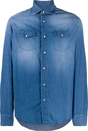 Dell'Oglio Camisa jeans mangas longas - Azul
