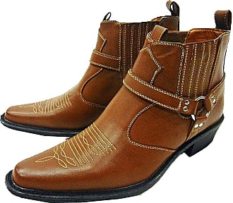 US Brass Mens Tan Classic Texas Cowboy Western Harness Ankle Boots Sizes 6-12