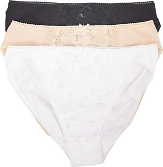 White Label M&S Cotton and Lace High Leg Knickers 4 Pack (2 White,Black,Nude) 22