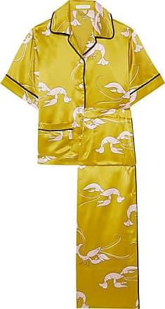 Olivia Von Halle Daria Printed Silk-satin Pajama Set - Chartreuse