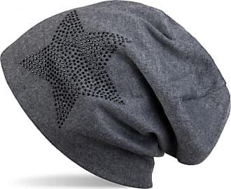 styleBREAKER Warm Beanie hat with Star Rhinestone Application, Unisex 04024023, Color:Mottled Grey/Black