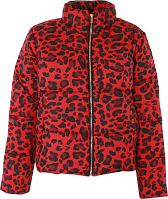 Love my Fashions Khushi Leopard Print Padded Jacket Red