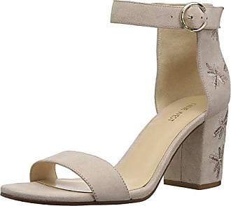 Nine West Womens GANGELA Suede Heeled Sandal, Light Natural, 7.5 Medium US