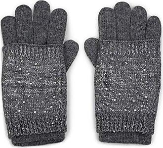 Fingerhandschuhe 09010008 warme Strickhandschuhe styleBREAKER Damen Handschuhe mit Strass Nieten Stern Applikation und doppeltem Bund