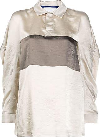 Koché Camisa polo com recortes em cetim - Neutro
