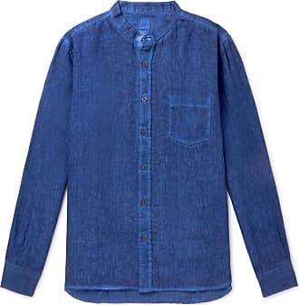 120% CASHMERE Grandad-collar Linen Shirt - Blue