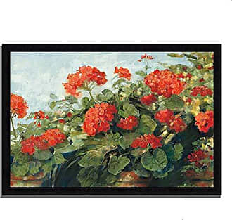 Tangletown Fine Art Geranium Wave by Carol Rowan Framed Art Red/Green