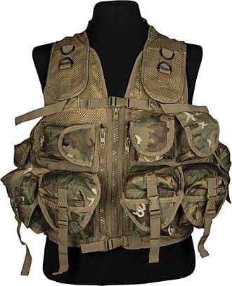 Mil-Tec Military Tactical Army Assault Vest 9 Pockets Airsoft Webbing Arid Woodland Camo