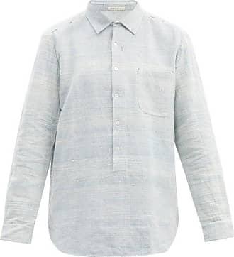 11.11 / eleven eleven 11.11 / Eleven Eleven - Half-buttoned Cotton-chambray Shirt - Mens - Blue