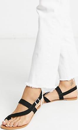 Miss Selfridge flat sandals with toe loop in black
