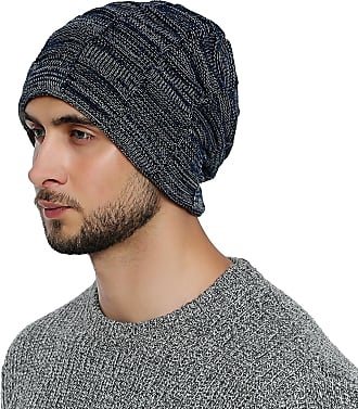 DonDon mens Warm Winter Beanie Slouch tube design modern knitted beanie with extra soft inner lining - Navy blue White