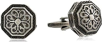 Stacy Adams Stacy Adams Mens Octagon Cuff Links with Antique Pattern, Gunmetal, One Size