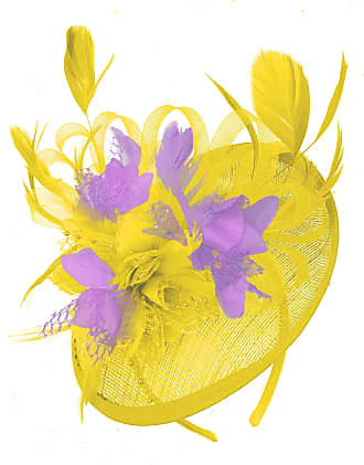 Caprilite Yellow and Lilac Sinamay Disc Saucer Fascinator Hat for Women Weddings Headband