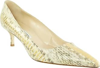 8032a99421b Manolo Blahnik Gold Python Pointed Toe Pumps And Kitten Heel- 38