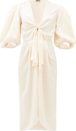 Johanna Ortiz Everblooming Tie-front Satin Dress - Womens - Ivory