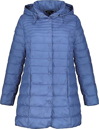 Ulla Popken Womens Plus Size Removable Hood Long Quilted Jacket Blue 20/22 719904 71-46+