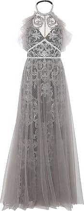 c1a4f015a7 Marchesa Marchesa Notte Woman Layered Embellished Tulle Halterneck Gown  Silver Size 10