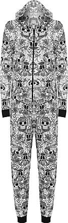 Islander Fashions Womens Printed Viscose Onesie Playsuit Jumpsuit Pajamas Skull Face Medium (UK 12/14)