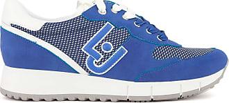 Liu Jo Milano Gigi 02 Running Cow Suede Mesh Deep Blue Blu Womens Shoe Sneakers