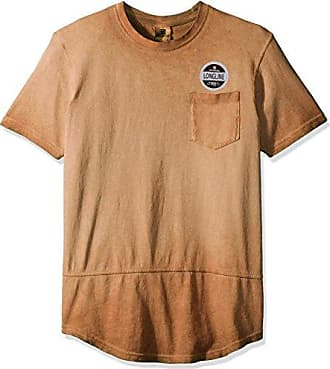 Southpole Mens Short Sleeve Surface Dyed Scallop Tee with Chest Pocket, Caramel, Medium