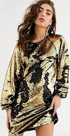 Object mini shift dress with balloon sleeves in black and gold sequin