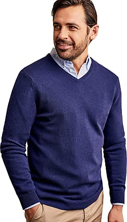 WoolOvers Mens Cashmere and Merino V Neck Jumper Lapis, M