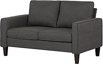 South Shore Furniture Loveseat Fabric Sofa, 2-Seat, Charcoal Gray