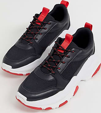 Asos trainers in black and red with chunky sole