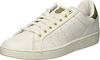 K-Swiss Mens Clean Court CMF Sneaker, White/Gold, 11.5 M US