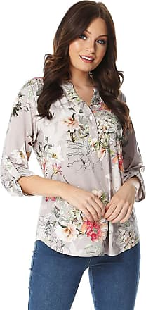 Roman Originals Women Floral Jersey Shirt - Ladies Casual 3/4 Length Sleeves Holiday Print Light Long Blouse for Summer Holiday Evening Special Occasions Blouses Tops