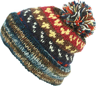 Loud Elephant Chunky Wool Knit Abstract Pattern Beanie Bobble Hat - Blue & Brown