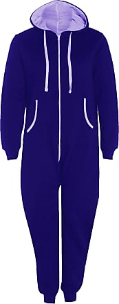 Islander Fashions Adults Zip Up Onsie1 Hooded Playsuit Unisex Thermal All in One Sports Jumpsuit Royal Blue Large