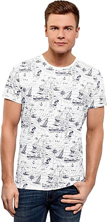 oodji Mens Nautical Print Cotton T-Shirt, White, UK 36-38 / EU 46-48 / S