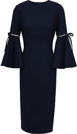 Oscar De La Renta Oscar De La Renta Woman Bow-embellished Mesh-trimmed Wool-blend Dress Navy Size 6