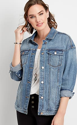 Maurices Medium Wash Oversized Denim Jacket