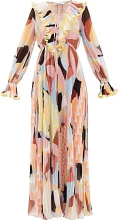 Self Portrait Self-portrait - Ruffled Geo-print Plissé-georgette Maxi Dress - Womens - Multi