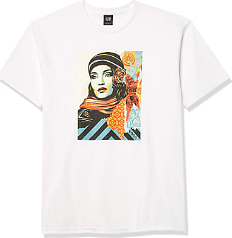 Obey Mens FIRE Sale SS Basic TEE T-Shirt, White, Large