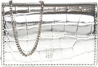 Burberry Card Case On Chain Strap Womens Silver