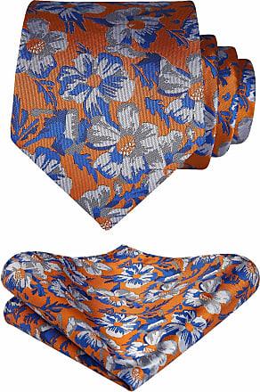 Hisdern Floral Paisley Wedding Party Tie Handkerchief Mens Necktie & Pocket Square Set Gray/Orange