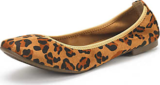 Dream Pairs Womens Slip On Round Toe Ballerina Ballet Flats Pumps Shoes Latte Leopard Size 7.5 US/5.5 UK