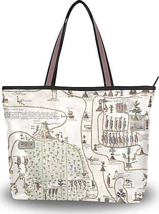 Lorona Women History Mesoamerica Mexico Aztec Map Canvas Shoulder Hand Bag Large Capacity Tote Bag