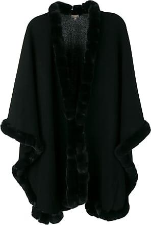 N.Peal fur-trimmed cape - Black