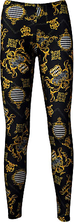 Insanity Luxurious Baroque Floral Damask Printed Leggings (XXL) Black and Gold