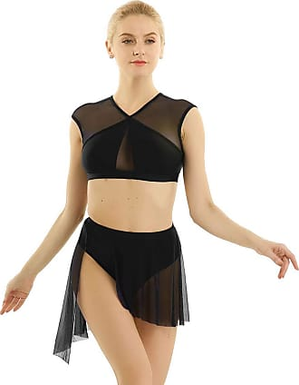 TiaoBug 2 Pieces Women Mesh Asymmetric Contemporary Lyrical Dance Crop Top with Short Skirt Dance Dress Costume Black X-Small